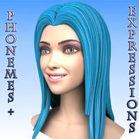 3d model cartoon girl head morph
