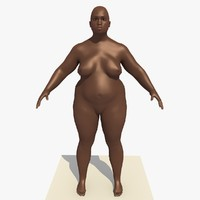 c4d realistically african woman rigged