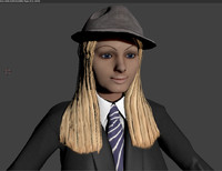 3d 3ds sexy rigged suit hat