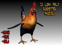 3d cartoon style rooster model