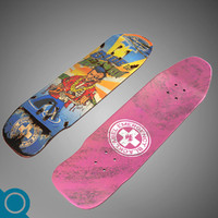 3d hawaiian pool deck skateboard model
