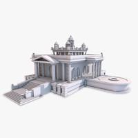 classic temple building 3d max