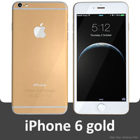 3d apple iphone 6 gold model