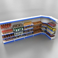 Shelves with products