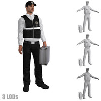 3d rigged csi agent s model