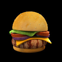 cartoon hamburger burger 3d ma