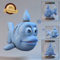 blue cartoon fish 3d model