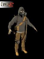 3d model post-apocalyptic wanderer