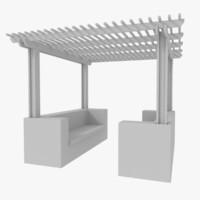 3d model wood pergola
