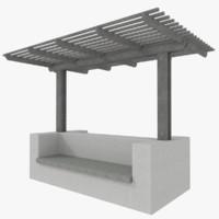 wood pergola 3d model