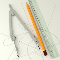 3d pencil ruler drawing model