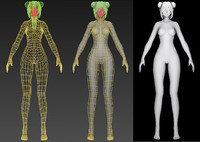 cartoon girl human 3d model