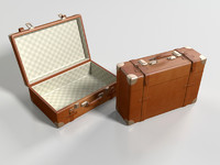 3d leather suitcase model