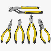 plier set 5 piece 3d model