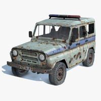 old rusty uaz-3151 police 3d fbx