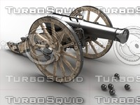 3d 12-pound field cannon model