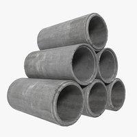concrete pipe 2 3d max