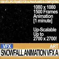 Visual FX Snowfall JPG Full Animation for Alpha-Planes Compositing