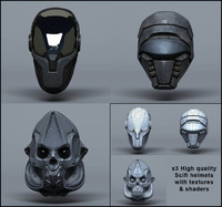 scifi helmets - pack 3d model