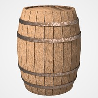 barrel wooden barrique 3d obj