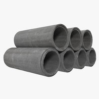 concrete pipe 3 3d model