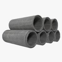 concrete pipe 3 3d model