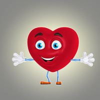 3d model cool cartoon heart