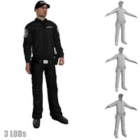 3d rigged security guard s