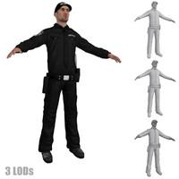 3d model security guard