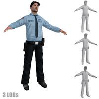3d model security guard 3