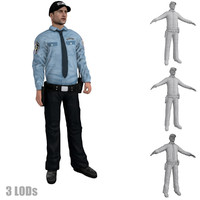 rigged security guard 3 3d model