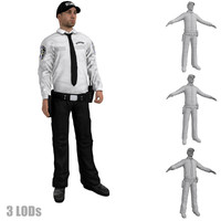 3d model rigged security guard s