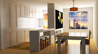 3d model kitchen dining room