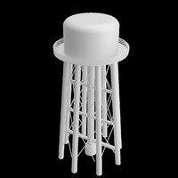 3d model of water tower uv unwrapped