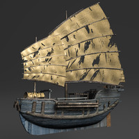 3d chinese junk fishing boat