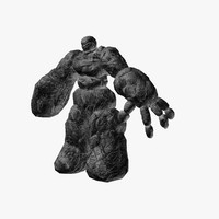 3d model stone golem rocks