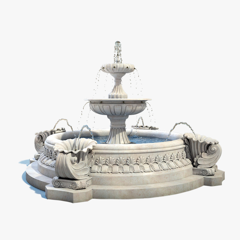 3d max fountain exterior water for Exterior 3ds max model
