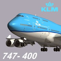 3d model boeing 747-400 klm