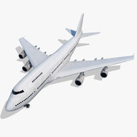 3d max boeing 747-200 generic white