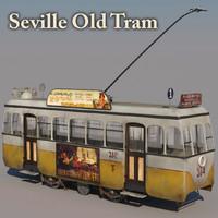 3d model old tram seville