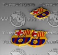 3d obj fc barcelona logo