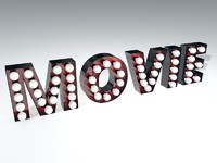 vintage movie theater sign 3d c4d