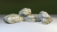 3d max ready mossy rock