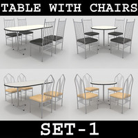 3d max table chairs set-1
