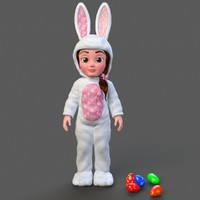 cartoon little girl minah 3d model