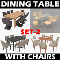 dining table chairs set-2 3d model