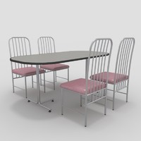 3ds table chairs-5 chairs