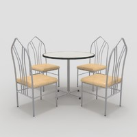 3d model table chairs-4 chairs