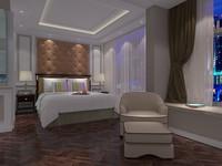 3d bedroom hotel room model