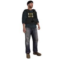 rigged dea agent 3d model